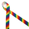 """Rainbow stripes in primary colors of red, yellow, orange, green, blue and purple printed on 7/8"""" white grosgrain ribbon is such a fun ribbon for hair bows, hat bands, fascinators, crafts and sewing projects! Be sure to have this ribbon on hand for all your new colorful and creative ideas."""