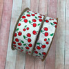 """Our cherries ribbon comes in two widths on white grosgrain. We have 1.5"""" and 7/8"""" for projects large and small"""