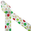 """Green and red apples with brown seeds and apple slices printed on 1.5"""" white grosgrain ribbon is such a fun ribbon for Fall crafting! A great choice for hair bows, scrap booking and more! Designed and printed in the USA"""
