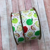"""Our apples are available in two widths 7/8"""" and 1.5"""" printed on white grosgrain making this ribbon perfect for projects large and small."""
