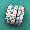 """Our Happy Birthday ribbon comes in two sizes! We have 1.5"""" and 7/8"""" for larger and smaller projects!"""