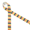 """Fall Chevron ribbon in yellow, orange, and yellow printed on 5/8"""" white grosgrain is the perfect ribbon for your Fall gift and decor. Be sure to have this ribbon on hand for all your Fall crafts too!"""