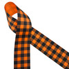 """Black plaid printed on 1.5"""" tangerine grosgrain ribbon is the ideal ribbon for all your Fall decor, crafting and gift ideas. Be sure to have this ribbon on hand for occasions from Halloween to Thanksgiving! Designed and printed in the USA"""
