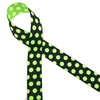 """Neon green polka dots on a black background printed on 7/8"""" neon green grosgrain ribbon makes for a fun and scary Halloween ribbon for hair bows, decor and treats! Be sure to have this ribbon in your Halloween collection! Designed and printed in the USA"""