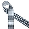 """Black and white houndstooth check printed on 1.5"""" white single face satin ribbon is a classic design for Holiday gift wrap, Father's day and Alabama football. All our ribbons are designed and printed in the USA"""