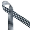 "Black and white houndstooth check printed on 1.5"" white grosgrain ribbon is a classic design for Holiday gift wrap, Father's day and Alabama football. All our ribbons are designed and printed in the USA"