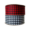 "Our houndstooth pattern in 1.5"" grosgrain comes in red or white for the best classic hair bows around!"