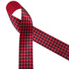 "Houndstooth check in black printed on 1.5"" red single face satin ribbon is a classic print for Holidays and everyday use. This is an ideal ribbon for hair bows,  holiday gifts, wreath making, decorating and sewing projects! Our ribbon is designed and printed in the USA"
