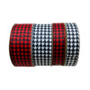 Our houndstooth check in black on either red or white grosgrain makes for beautiful hair bows and wreath ribbons!
