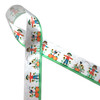 """Our widest Scarecrow ribbon  printed on 1.5"""" single face satin features scarecrows with red jackets and blue pants in a garden of pumpkins and sunflowers with adorable little birdhouses. This sweet ribbon is perfect for Fall decor, wreaths and crafts. Be sure to add this ribbon to your Fall collection. Our ribbon is Designed and printed in the USA"""