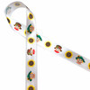 """Scarecrows with sunflowers wearing fun little hats printed on 5/8"""" white single face will add lots of fun to your Fall crafts, packages, floral pieces, gifts and sewing projects. This is also a great width for cookies, treat bags and cake pops too ! Our ribbon is designed and printed in the USA"""