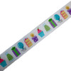 "Birthday Party ribbon with cake, gifts, party hats and cupcakes in pastel printed on 5/8"" white single face satin ribbon, 10 yards"