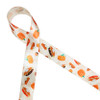 "Pumpkin pie ribbon with pies and pie slices tossed on a beautiful tone on tone leaf pattern printed on 7/8"" antique white single face satin is the ideal ribbon for Fall events, parties, Thanksgiving celebrations and decor. Be sure to have this ribbon available for gift wrap too! Our ribbon is designed and printed in the USA"