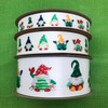 """Christmas Gnome ribbon with fun little gnomes with a variety of hats and costumes printed on 1.5"""" white single face satin ribbon, 10 yards"""