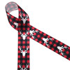 """Buffalo plaid in red and black with white deer heads  printed on 1.5"""" white single face satin ribbon is the perfect ribbon for a country Christmas decor! Use this ribbon on gifts, wreaths and floral arrangements for a Lake and Lodge theme! All our ribbon is designed and printed in the USA"""
