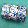 """Chinoiserie Ginger jar floral design ribbon in blue and white printed on 1.5"""" white single face satin, 10 yards"""