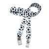 """24"""" mask holder with soft plastic snap closures printed with a soccer ball design printed on both sides on  5/8"""" Ultra Lanyard material are perfect for children and adults for keeping track of face masks at school, sports practice, lunch and break time."""