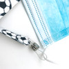 """Face mask holder lanyard 24"""" long  soccer ball design with plastic snap fittings printed on 5/8"""" Ultra Lanyard fabric"""