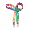 """24"""" mask holder with soft plastic snap closures printed with our rainbow Unicorn design printed on both sides on  5/8"""" Ultra Lanyard material are perfect for children and adults for keeping track of face masks at school, sports practice, lunch and break time."""