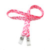 "24"" mask holder with soft plastic snap closures printed with our pink breast cancer awareness design printed on both sides on  5/8"" Ultra Lanyard material is  perfect for adults to keep track of face masks at  work, school, sports practice, lunch and break time."