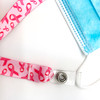 """Breast Cancer Awareness Face mask holder lanyard 24"""" long theme design with vinyl snap fittings printed on 5/8"""" Ultra Lanyard fabric"""