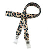 """24"""" mask holder with soft plastic snap closures printed with our Cheetha/Leopard design printed on both sides on  5/8"""" Ultra Lanyard material is  perfect for adults to keep track of face masks at  work, school, sports practice, lunch and break time."""