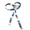 """24"""" mask holder with soft plastic snap closures printed with our Keep Truckin' theme design printed on both sides on  5/8"""" Ultra Lanyard material is  perfect for adults to keep track of face masks at  work, school, sports practice, lunch and break time."""