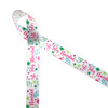 """Feliz Navidad is Spanish for Merry Christmas! Our Feliz Navidad ribbon is sprinkled with colorful confetti and streamers in pink, lime green, turquoise and purple on 7/8"""" white single face satin. This fun, warm festive ribbon is perfect for party favors, gift wrap, table decor, wreaths and tree trim. Be sure to have this fun ribbon on hand for your Holiday decor! Our ribbon is designed and printed in the USA"""
