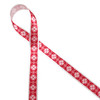 """Nordic design snowflakes on a red background printed on 5/8"""" white single face satin  ribbon is an ideal ribbon for Holiday and Winter themed gifts, parties and favors. Tie this ribbon on cookies, cake pops and candy treats to make a sweets table a Winter Wonderland! All our ribbons are designed and printed in the USA"""