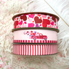 "Valentine ribbon red truck with hearts for gift wrap, party favors printed on 7/8"" pink satin, 10 yards"
