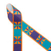 "Ankara Kente African design in traditional colors of orange, turquoise, red, blue, printed on 1.5"" white grosgrain ribbon is an ideal ribbon for hair bows, headbands, sewing projects, crafts and festivals. All our ribbons are designed and printed in the USA"