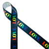 """Love in Rainbow colors on a black background printed on 1.5"""" white single face satin  ribbon is an ideal ribbon for Valentine's Day, Galentine's Day, Pride Week,  and LBGTQ celebrations because love is love. This ribbon is perfect for gift wrap, party decor, wreaths, floral design, quilting and crafts. All our ribbon is designed and printed in the USA"""