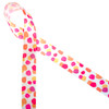 "Water color dots are trending! Our water color dots of pink, yellow and  coral printed on 7/8"" white single face satin ribbon is the perfect addition to quilting, sewing and craft projects. Use this ribbon for fun Spring events, bridal showers and dessert tables. All our ribbon  is designed and printed in the USA"
