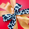 """Cow print ribbon for costume trim, country, barnyard, Toy story party, cosplay, tutu trim, quilting, gift wrap, printed on 1.5"""" white  satin"""