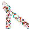"""Candy is dandy! We have the sweetest candy themed ribbon around featuring lollipops, gummy bears, gummy worms, and mints in  primary colors tossed on 1.5"""" white single face satin ribbon. This is a great ribbon for quilts, tutu trim, cosplay and sewing projects. Any candy shop would be extra special with this ribbon on the shelf! All our ribbon is  designed and printed in the USA"""