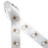 "Engagement ring ribbon in gold ink printed on 1.5"" white single face satin ribbon is the perfect addition to engagement party  gifts and decor. This fun ribbon is great for bridal showers and wedding gifts too! All our ribbon is designed and printed in the USA"