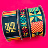 Combine our African Kente scroll ribbon with our traditional Kente designs for a beautiful combination of print and color!