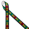 """Ankara Kente African design in traditional colors of yellow, green, red and black printed on 5/8"""" white grosgrain ribbon is an ideal ribbon for hair bows, headbands, sewing projects, crafts and festivals. All our ribbons are designed and printed in the USA"""