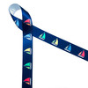 """Sailboats with colorful billowing sails on a navy blue background printed on 7/8"""" white single face satin ribbon is a must for Summer seaside and lake side soirees! This is an ideal ribbon for gift wrap, party decor, favors and Summer crafting! All our ribbon is designed and printed in the USA!"""