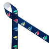 """Sailboats with colorful billowing sails on a navy blue background printed on 7/8"""" grosgrain ribbon is a must for Summer seaside and lake side soirees! This is an ideal ribbon for gift wrap, party decor, favors and Summer crafting! All our ribbon is designed and printed in the USA!"""