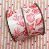 """Seashell ribbon in pink for beach wedding, beach party, seaside party, gift wrap, quilting, party decor printed on 1.5"""" white satin"""
