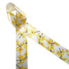 """Yellow Forsythia blossoms on their branches printed on  1.5"""" white single face satin ribbon is perfect to  welcome Spring! This beautiful ribbon is perfect for Spring wreaths, hat bands, gift wrap, bows and sewing projects! All our ribbon is designed and printed in the USA"""