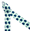 """Turtles in blue and green printed on 1.5"""" white grosgrain ribbon make the perfect preppy bows! This fun prepster ribbon is ideal for hat bands, head bands, hair bows, gift wrap and sewing projects. Be sure to have this ribbon on hand for all those Summer preppy projects! Our ribbon is designed and printed in the USA"""