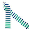 """Stripes of blue and green printed on 1.5"""" white grosgrain ribbon is the ideal ribbon for preppy bows! This is a fun ribbon for preppy party decor, seaside party decor. beach themed parties, hair bows, headbands and hat bands! A fun ribbon for gift wrap, quilting and sewing crafts too! All our ribbon is designed and printed in the USA"""