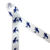 """Horse jumping fences in navy blue printed on 1.5"""" white satin ribbon is ideal for the equestrian in your life. This classic design is perfect for pony finals ribbons, hair bows, horse shows, head bands, party decor, floral design and craft projects. Be sure to have this ribbon on hand for quilting and sewing projects too! All our ribbon is designed and printed in the USA"""
