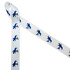 "Horse jumping fences in navy blue printed on 7/8"" white satin ribbon is ideal for the equestrian in your life. This classic design is perfect for pony finals ribbons, hair bows, horse shows, head bands, party decor, floral design and craft projects. Be sure to have this ribbon on hand for quilting and sewing projects too! All our ribbon is designed and printed in the USA"