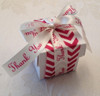 A band of our red and antique white chevron is the base for this pretty Thank You favor box. This is so fun and modern for a very fashion forward event!