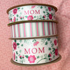 Our Mom floral ribbon comes in two sizes and matches so well with our pink and sage stripes! Make a truly elegant affair with these beautiful ribbons!