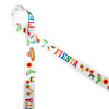 """Fiesta in pink, orange, blue, yellow and red with maracas, sombreros, chili peppers, pinatas, and margaritas printed on 7/8"""" white single face satin ribbon is perfect for Cinco De Mayo celebrations! This is a great ribbon for party decor, Southwestern themed parties and lots of Summer fun! All our ribbon is designed and printed in the USA"""
