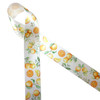 "Oranges whole, slices and with their leaves printed on 1.5"" white single face satin ribbon is ideal for quilting, sewing, crafts , wreath making and so much more. This is a great ribbon for party decor, bridal showers, hair bows and hat bands. All our ribbon is designed and printed in the USA"